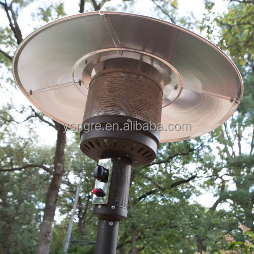 Standing Hammered Bronze Patio Heater With Drink Table