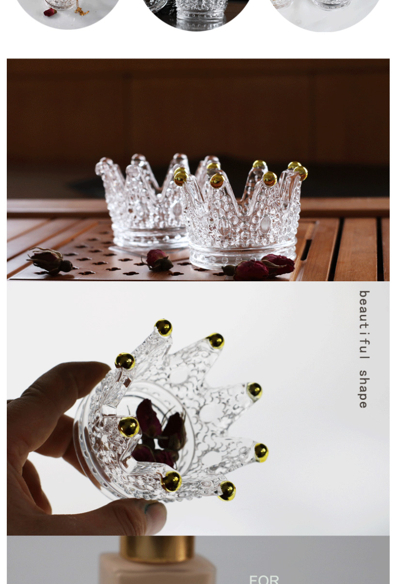 Creative crystal glass crown ornaments beauty egg storage rack embossed craft European candlestick ashtray