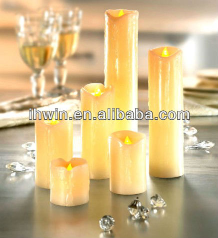 Set of 6 ivory Color Flameless LED Candle With Dripping Effect&Wave Edge For Chrismas Holiday