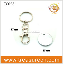 Custom Promotional Blank Shopping Cart Coin Keychain, Custom Metal Trolley Coin Keyring