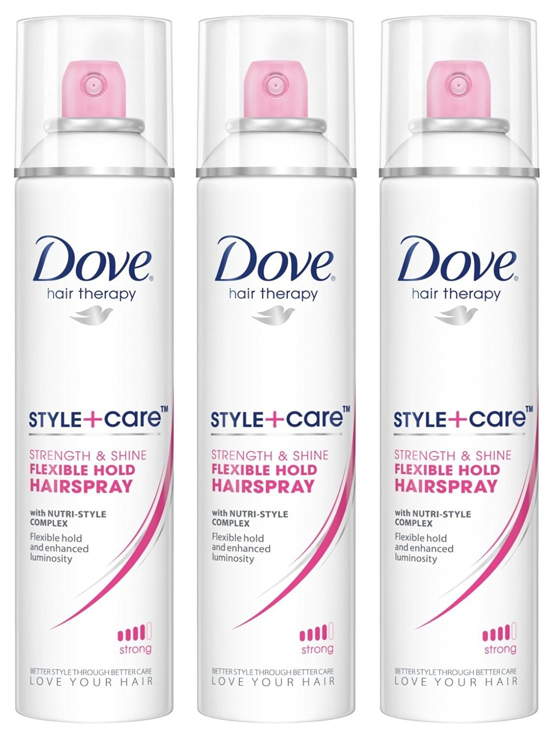 Dove Hair Therapy - Style + Care - Flexible Hold Hairspray - Net Wt. 7 OZ (198 g) Each - Pack of 3