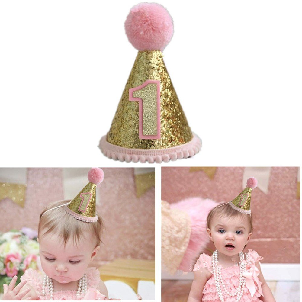 Gold Glitter Sparkle Princess 1st Birthday Cone Hat with Adjustable  Headband for Baby Girl Party Supplies 7471bc2673bb