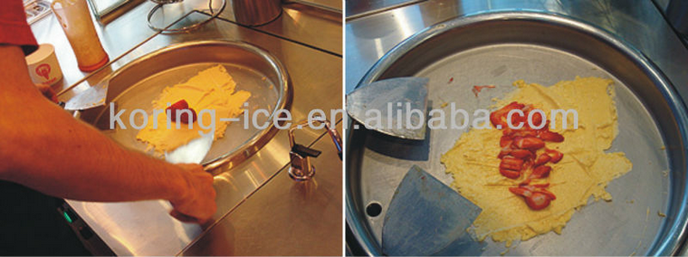 cold stone marble slab top fry ice cream making machine commercial