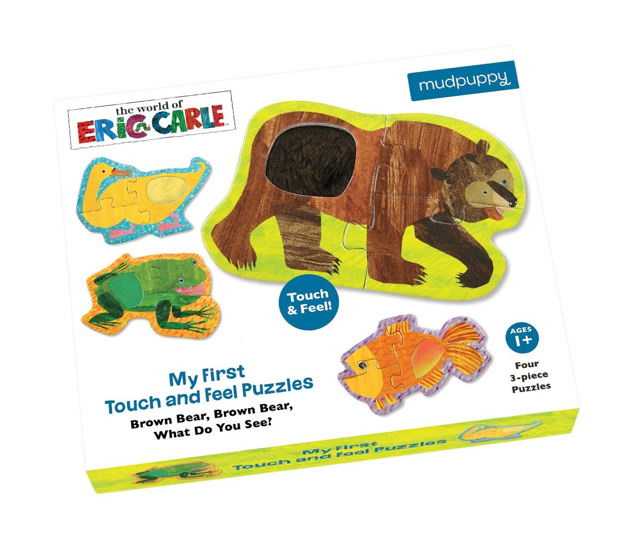 Mudpuppy The World of Eric Carle My First Touch & Feel Bear Puzzle (12 Piece), Brown
