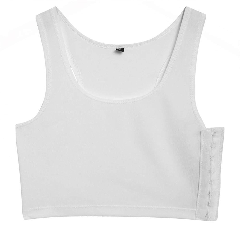 521dcdf76ae5c Get Quotations · Goodfans Full-Support Sport Bra Chest Binder Women White  Chest Blinder Vests