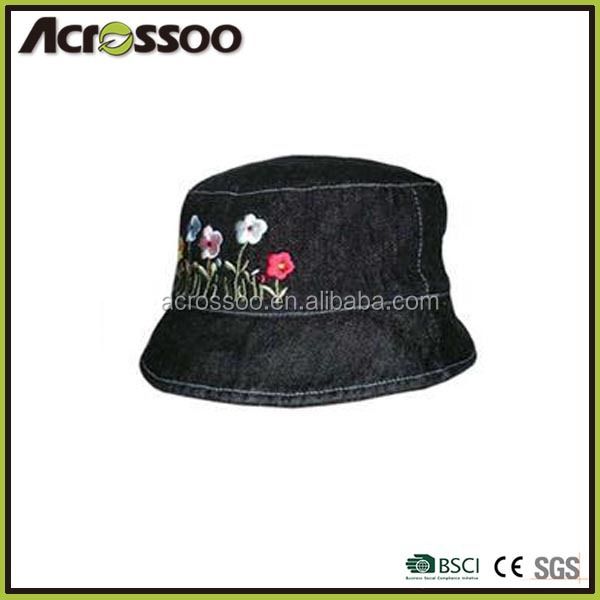 Kids black cotton embroidery bucket hat/children summber cap