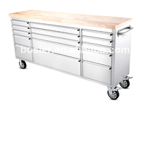 Stainless Steel Anti-fingerprint 15 Drawers Tool Box 72 tool Cabinet Work Bench