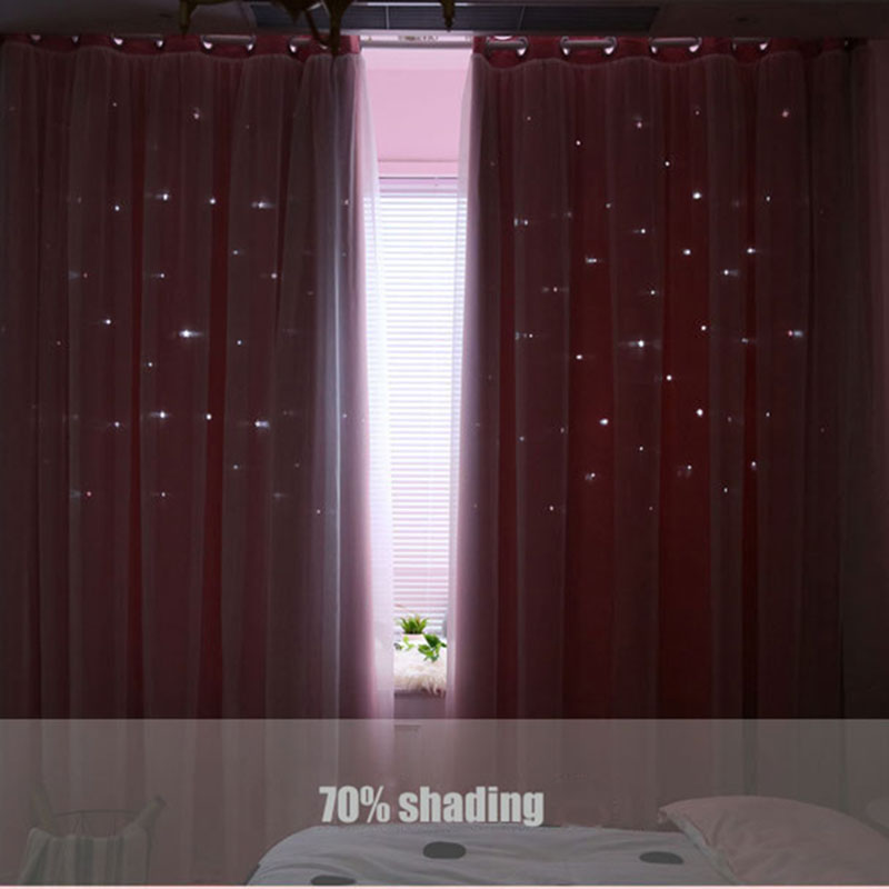 Factory Price Cheap Star Laser Cutting Hollow Cut Out Shaped Polyester Fabric Blackout Curtains For Hotel