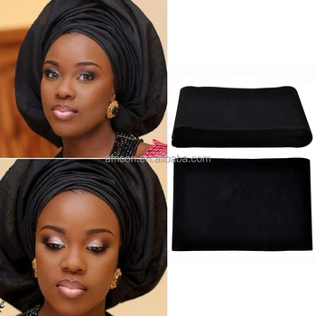 AS01 Queency 2017 Nigeria Gele Asoke Fabric Headtie for African in Black f88868406b9