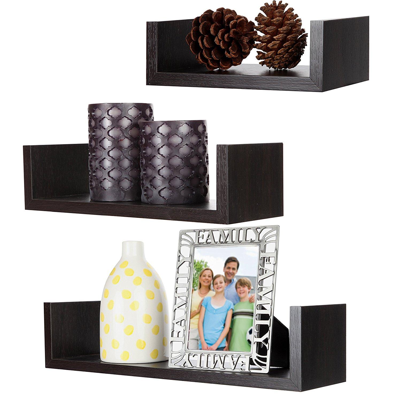 ARAD Floating Shelf, Wall Shelf, Wood Shelf, Floating Shelf Set, Wall Mounted Shelves, Set of 3 Floating U-Shelves in Walnut Finish,