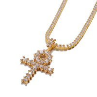Best Selling 14K Gold Round Cut Diamond Ankh Cross Pendant