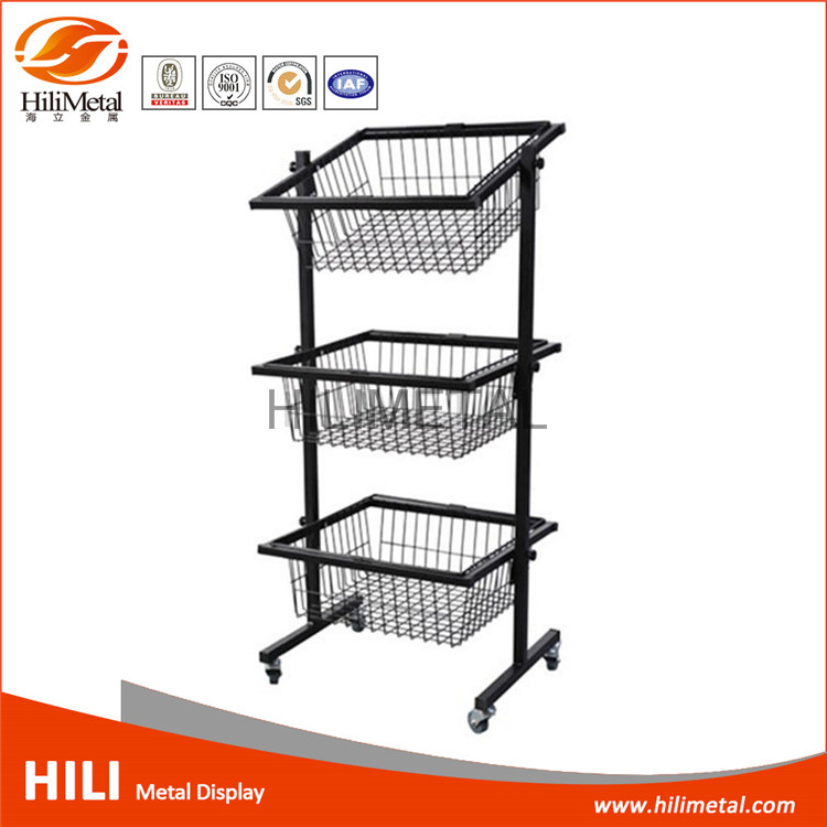 Brochure display stands wire gird basket display rack rotating with wheels