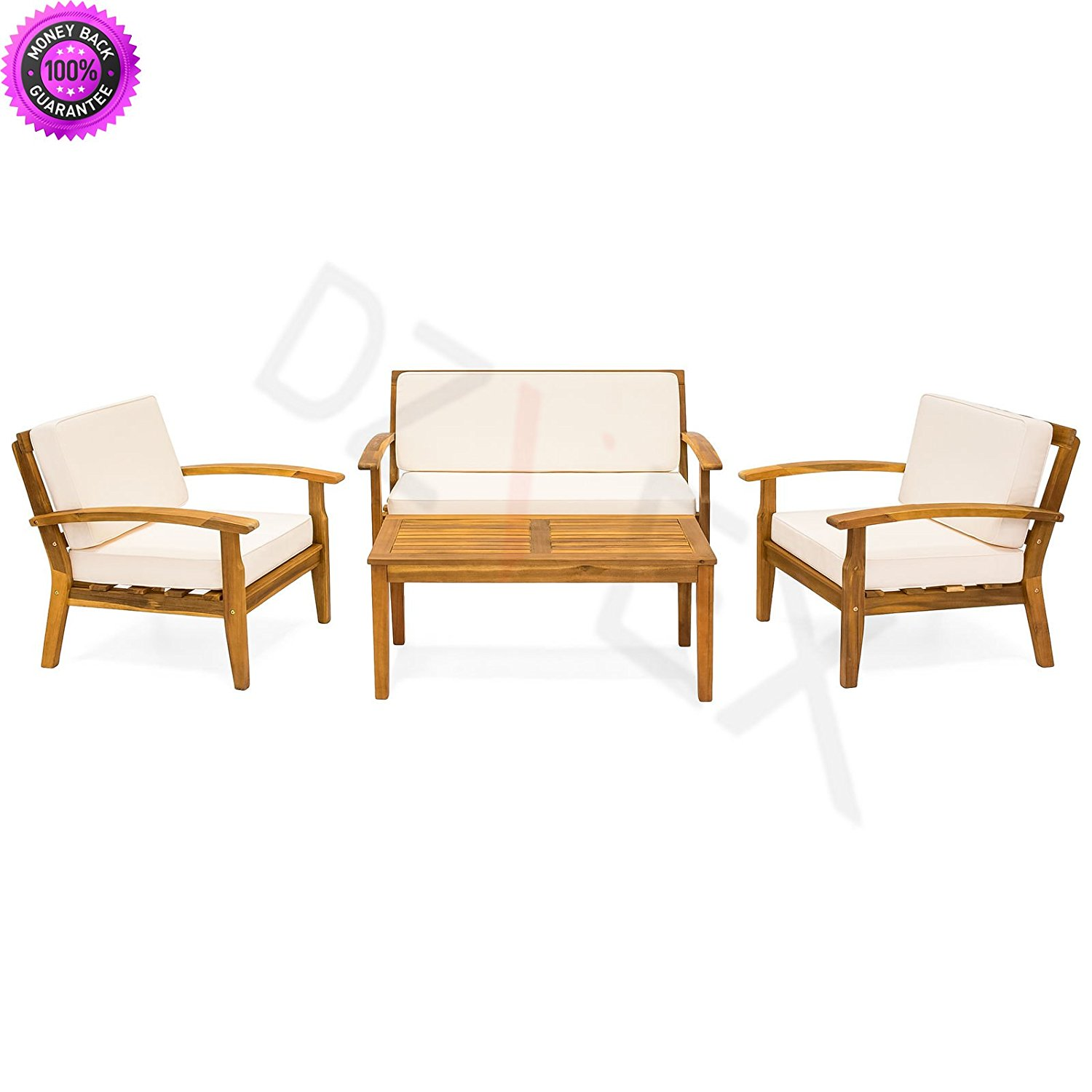 Get Quotations · DzVeX 4-Piece Acacia Wood Sofa Set w/Water Resistant  Cushions (White) - Cheap Outdoor Furniture Wood, Find Outdoor Furniture Wood Deals On
