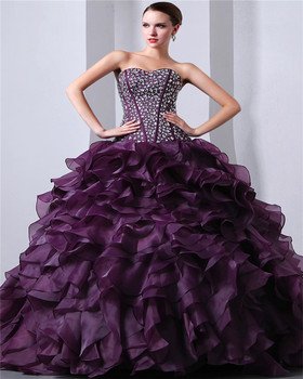Custom Made Sleeveless Sweetheart Elegant Sweep Train Evening Gowns Lace-up Beaded 2018 Piping Quinceanera Dresses