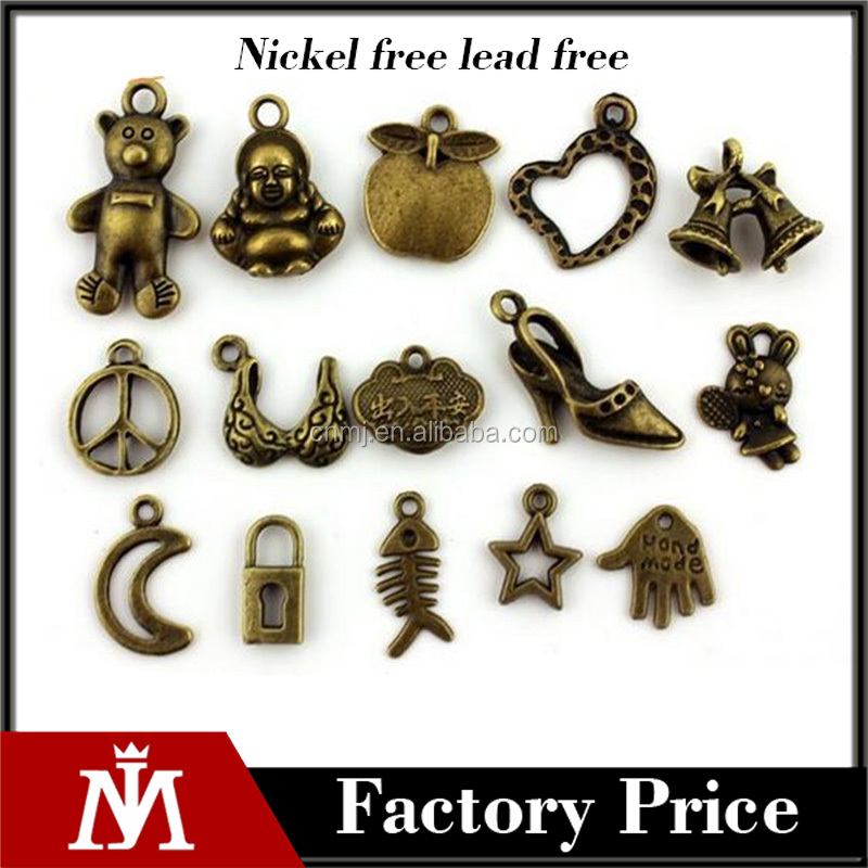 Vintage bronze mixed theme moon heart lock bell jewelry accessories