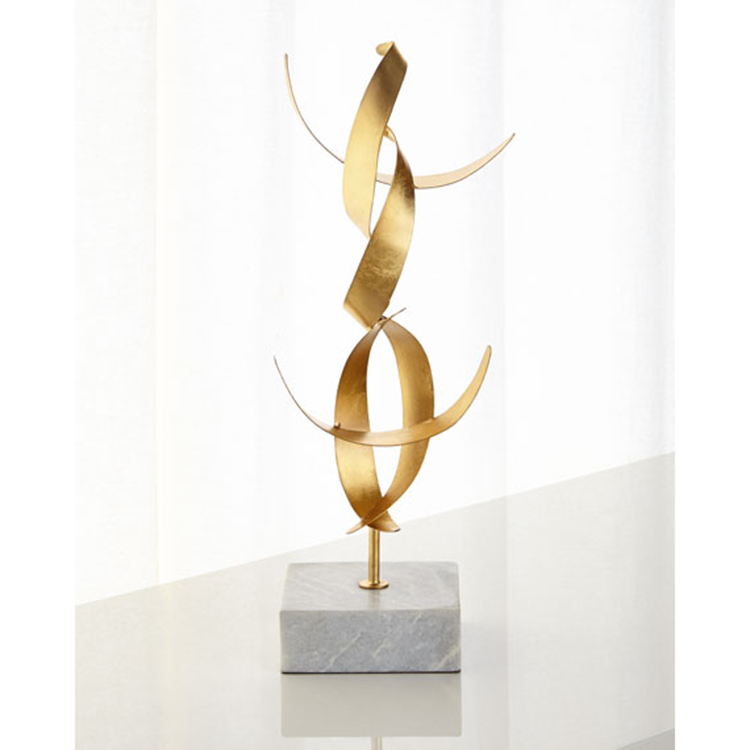 Custom Wholesale Supplier Craft Geometrical metal Gold Leaf Abstract Sculpture with white marble base For Home Decoration