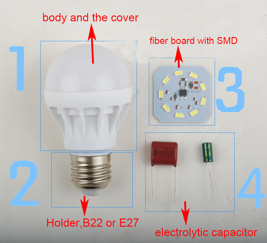 Factory Support Rc Bulb SKD Parts Led Bulb Round Pcb Board 9W Bulb Accessories