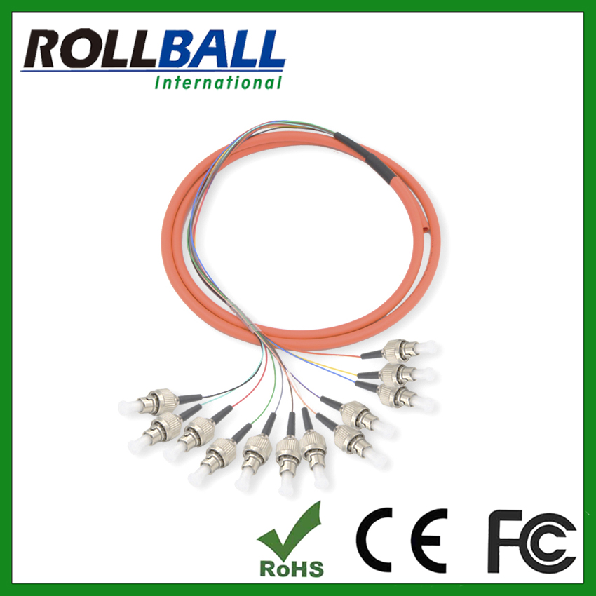 hot selling LC SC ST FC sm mm 12 core fiber optic pigtail