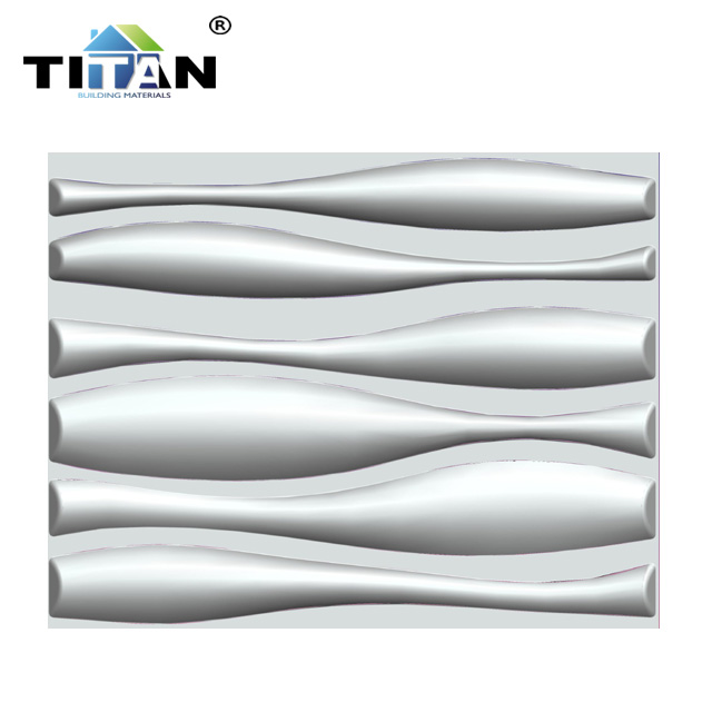 Wall Art Decorative PVC Material White Wave Design PVC <strong>3d</strong> Wall <strong>Panel</strong>