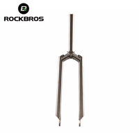 "ROCKBROS Bicycles Titanium Alloy Mountain Bike Parts Disc Brake Fork 1-1/8"" MTB Cycling Straight Front Fork"