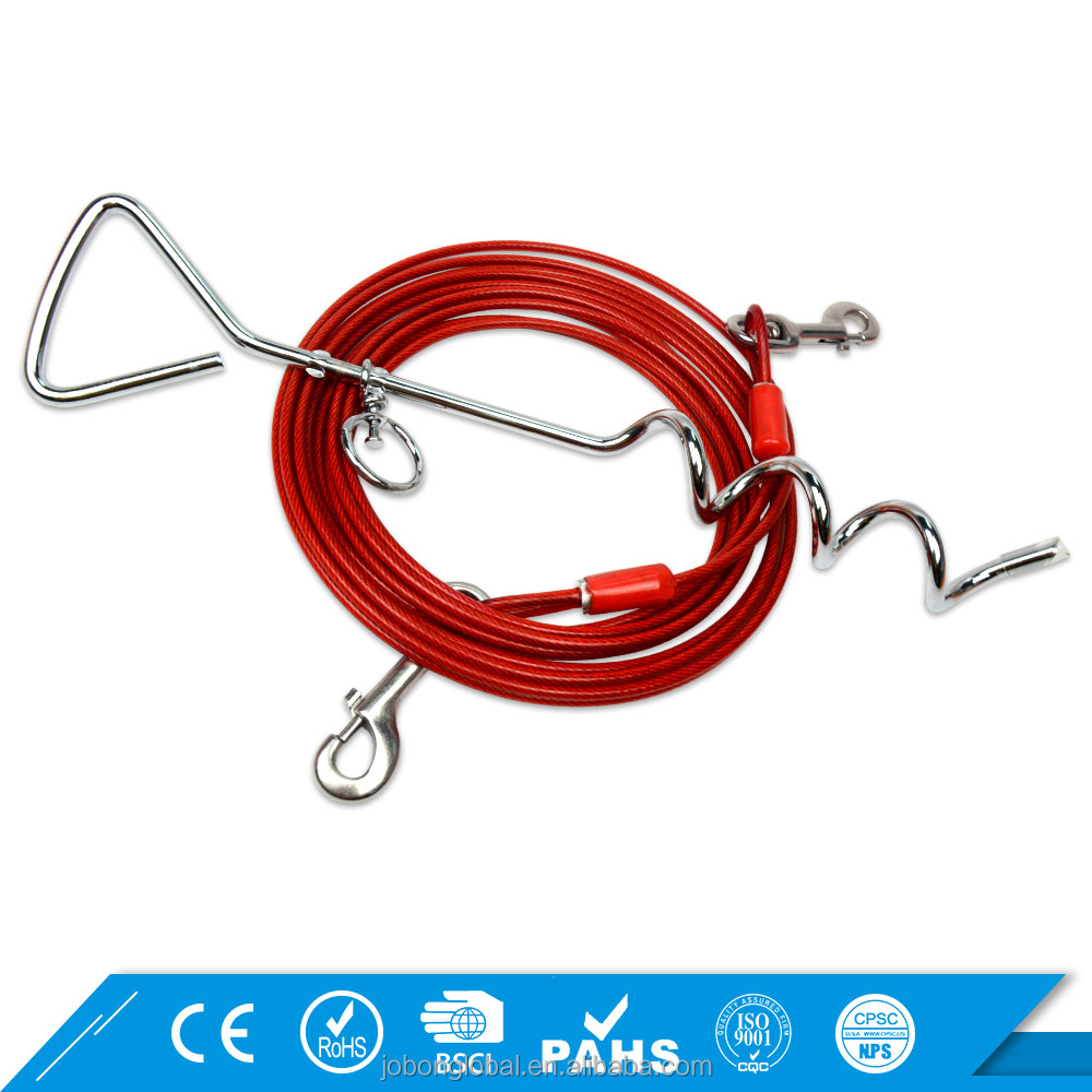 Metal Handle Heavy Duty Spiral Stake Dog Tie Out Cable