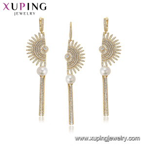 64606 xuping asymmetric bridal gold pearl with synthetic cubic zircon jewelry set