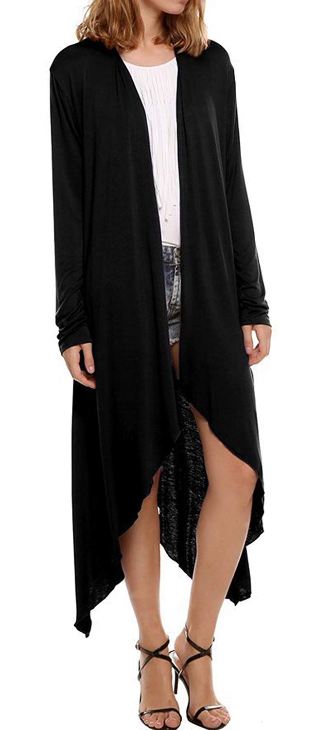 VOGRYE Womens Lightweight Kimono Long Cardigan Open Front Lightweight Blouse Long Sleeve Casual