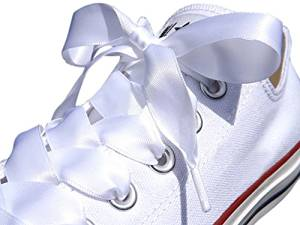 4b5398626b820c White Satin Ribbon Shoe Laces   Shoe Strings To Fit Converse Sneakers in  Lo s   Hi