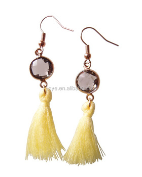 Fashion Bohemian Style Crystal Cabochon Tassel Earrings