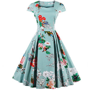 2014 Women One Piece African Styles Vintage 1950's Floral Spring Garden Picnic Party Cocktail Dress