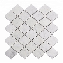 Arabesque Shape White Carrara Lantern Marble Mosaic Tile