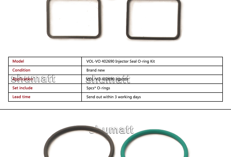 Brand new volvo 402690 injector seal o-ring kit 5pcs (2).jpg