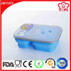 Food Grade Silicone Leakproof 2 Compartment Microwave Food Container/ 2 Compartment Silicone Collapsible Lunch Box with Forks