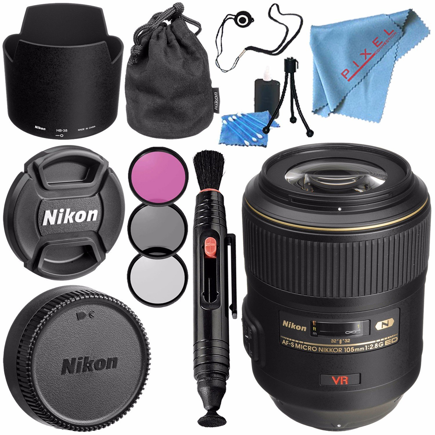 Nikon AF-S VR Micro-NIKKOR 105mm f/2.8G IF-ED Lens 2160 + 62mm 3 Piece Filter Kit + Lens Pen Cleaner + Fibercloth + Lens Capkeeper + Lens Cleaning Kit Bundle