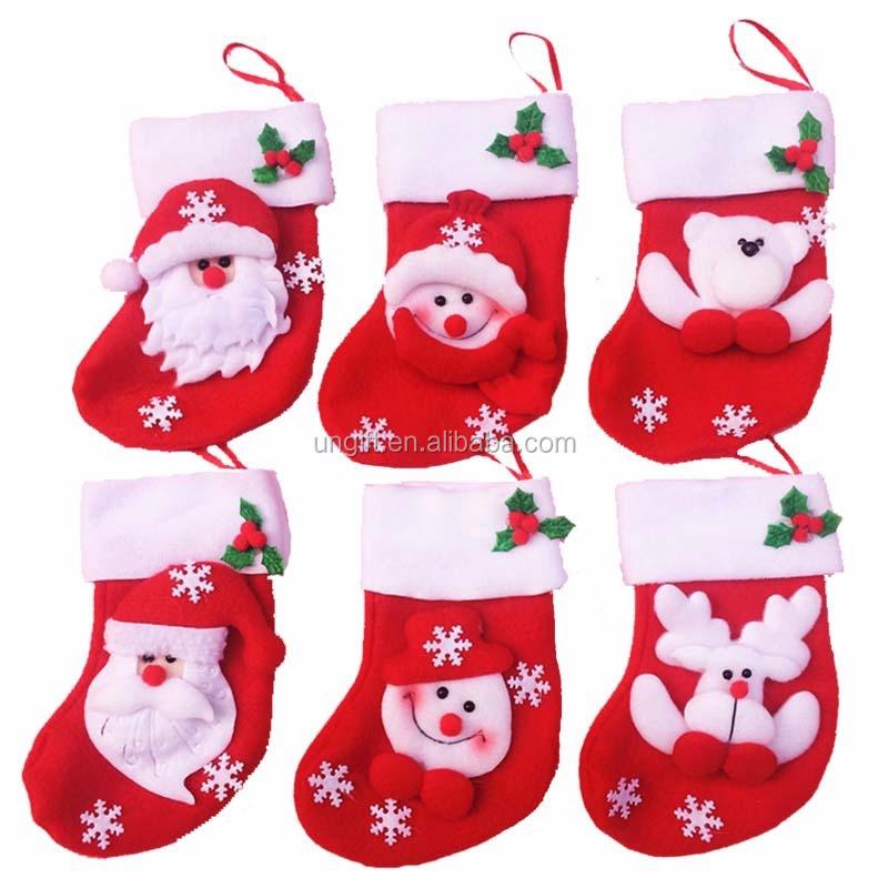 Mini Christmas Stocking / Socks Candy Bag Christmas Gift Bag Navidad ...