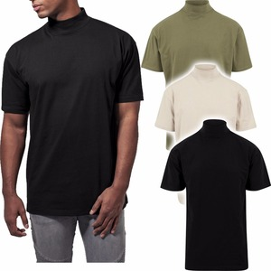 Custom baumwolle cotton plain t shirt turtleneck