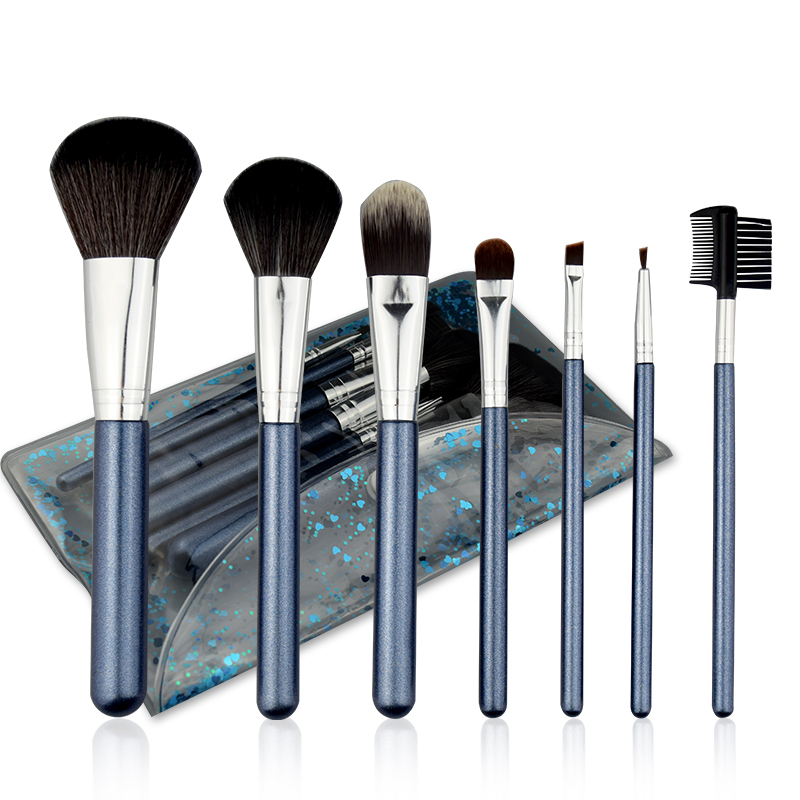 Hot Sale 7pcs Custom Makeup Brushes Set Private label Cosmetic High Gloss Synthetic Brushes