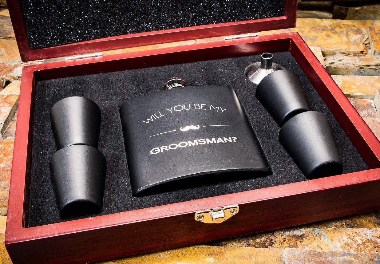 Will You Be My Groomsman Wooden Gift Box Flask Set- Groomsmen Proposal Boxes- Gifts For Men, Ask Groomsmen Flasks - Extra Thick 5mil #304 Stainless Steel, Laser Engraved, Leak Proof Groomsman FSK 12
