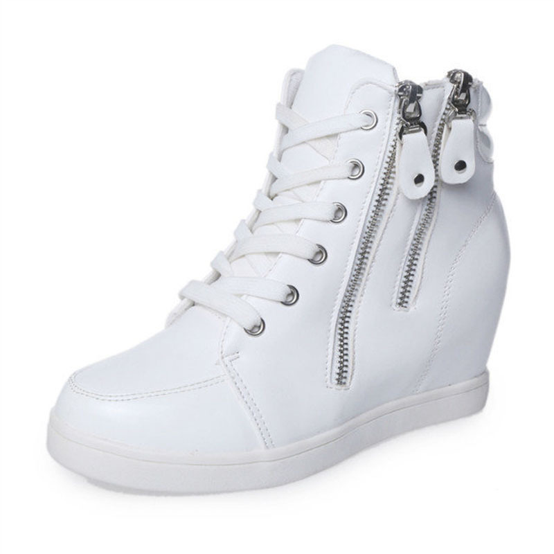 New Arrived Size 35-39 Pu+Side Zipper Women's Within Increasing Shoes Women High Top Sneaker Wedge Sneaker White&Black