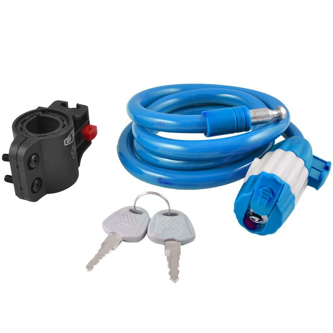 Aexit 1.2m 3.9ft Bike Locks Blue Motorbike Bicycle Bike Security Spiral Cable Wire Lock U-Locks w Bracket