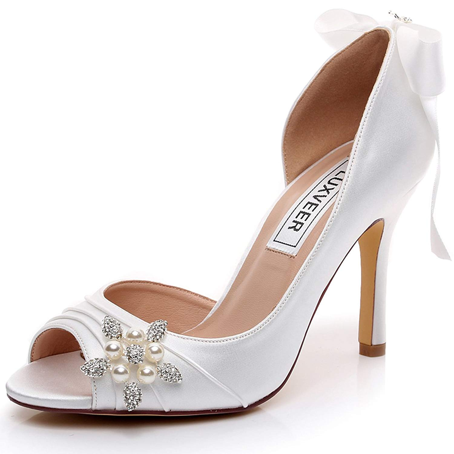 LUXVEER Satin Bridal Shoes with Silver Rhinestone Wedding