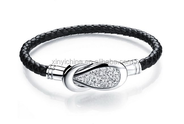 Design Leather Bangle With 316L Stainless Steel <strong>Accessories</strong>