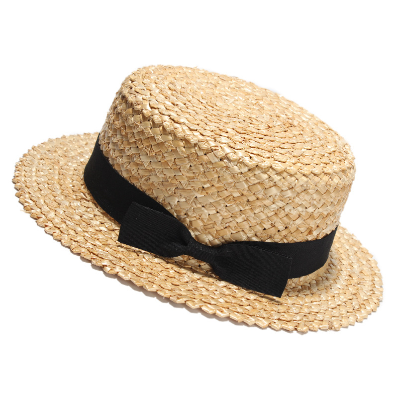 22dd4fff5e511 56-58cm Customized logo french female summer straw boater hat wholesale for  party panama hat