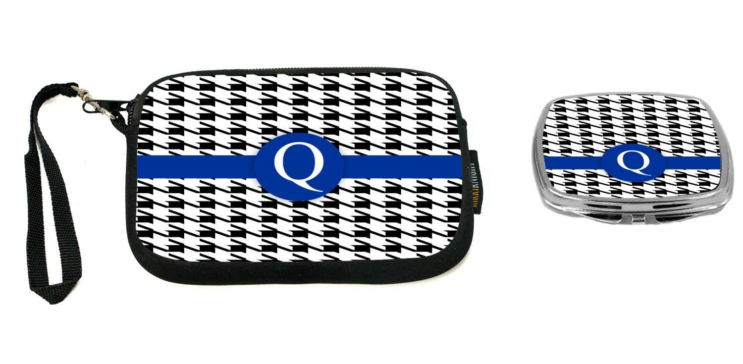 """Rikki Knight Letter""""Q"""" Blue Houndstooth Monogram Design Neoprene Clutch Wristlet with Matching Square Compact Mirror"""