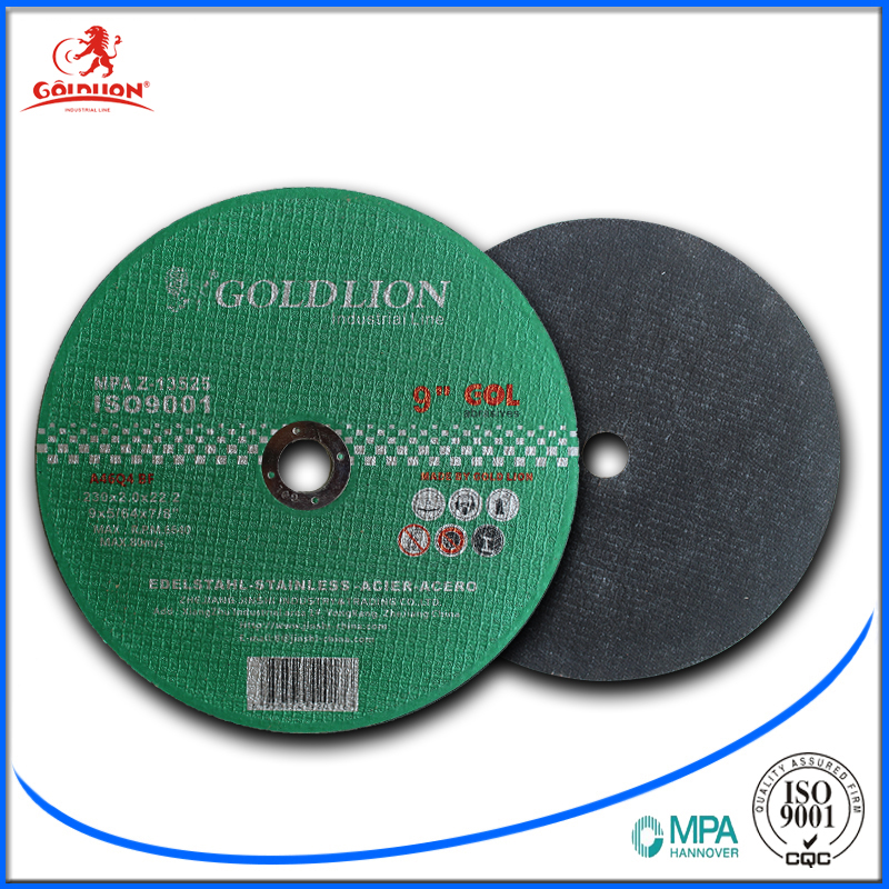 Goldlion good quality flat abrasive cutting tools cutting disc best price for metal 9inch 230*2.0*22.2mm