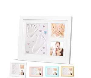 Baby Hand and Foot clay print wooden Photo Frame Kit tools Newborn Girls for Boys and girls