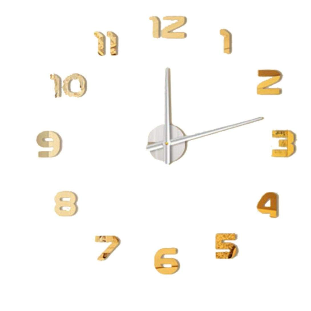 FZZ698 Art Clock For Wall, Big Watch, Home Decor Clearance Mirror Wall Sticker Decor Home & Kitchen Diy 3D Wall Clock Fashion Diy Decal (Gold)