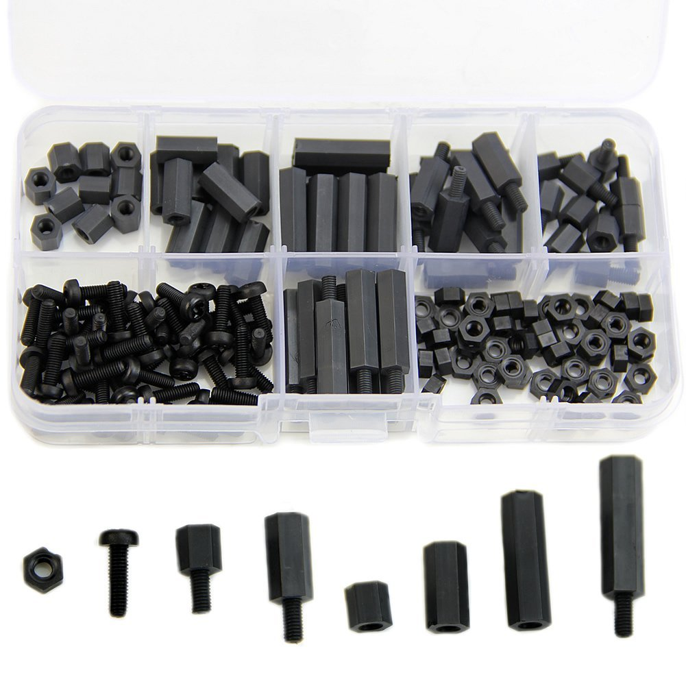 Feamos 160Pcs M3 Nylon Black M-F Hex Spacers Screw Nut Assortment Kit Stand off Set New