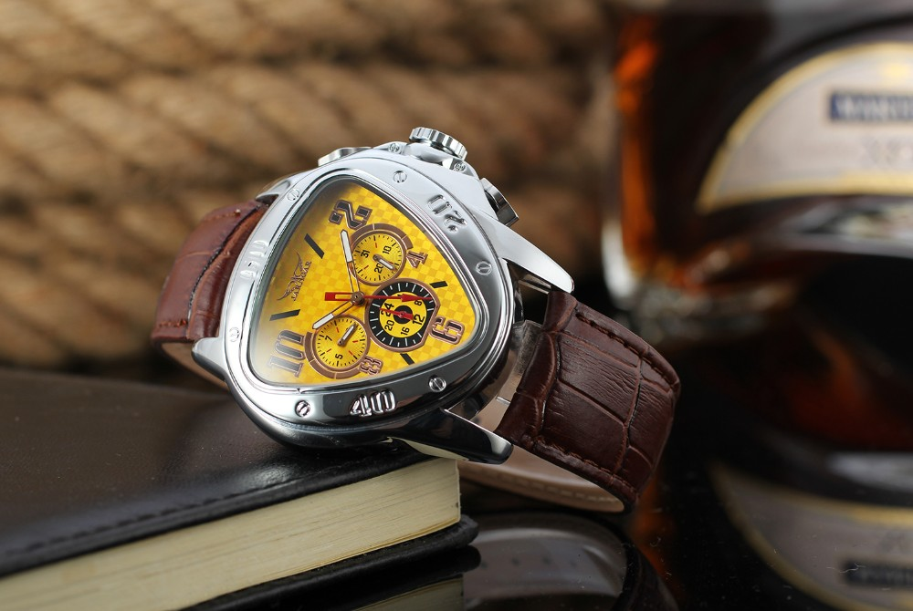 2018 New Design Jaragar Triangle Automatic Mechanical Gift Watch Men Luxury Brand Automatic
