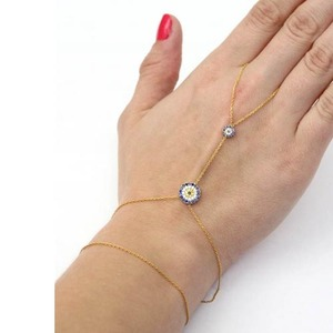 Silver Bracelet With Ring Attached Evil Eye Gold Chain Bracelet